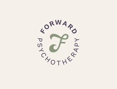 Forward Psychotherapy Seal psychology therapy psychotherapy type green cream typography graphic design hand lettering seal