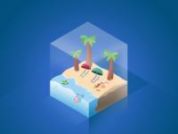 Isometric Beach Illustration