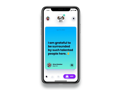 A UI concept for a gamified wellbeing app gamification c4d gratitude pet gradient swipe character 3d cards concept interaction app animation ux ui mobile