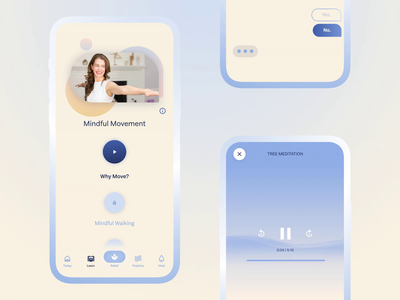 MAYV - holistic pain relieve app lessons pain relief gradient soft app interaction conversational ui meditation waves animation design app ux ui design