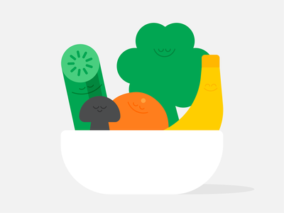 Mindful Eating mindfulness headspace broccoli healthyfood vegetables food mindful eating editorial karenyoojin minimal character character design illustration