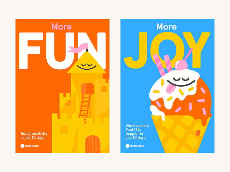Headspace Summer campaign summer meditation joy fun icecream sandcastle headspace karenyoojin design minimal character character design illustration