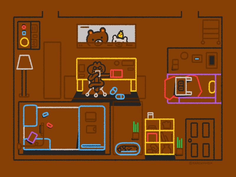 Studio Apartment room rilakkuma apartment abstract shapes editorial karenyoojin character character design illustration