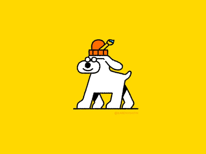 Art Dog beanie paintbrush artist dog editorial karenyoojin minimal character character design illustration