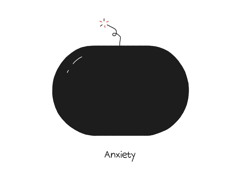 Anxiety bomb anxiety editorial shapes graphic design design karenyoojin minimal illustration