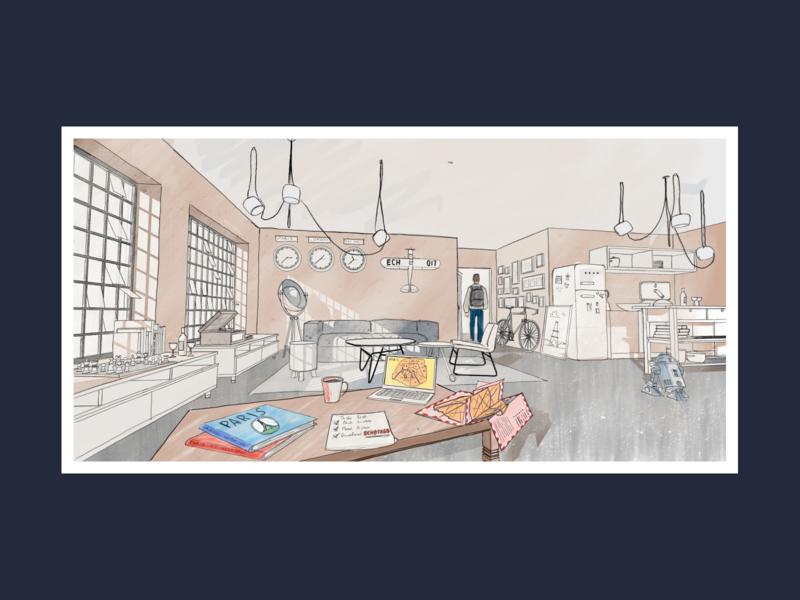 Illustration illustration art studio exit rooms sketch hand drawing room illustration