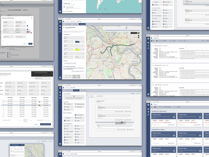 GIS app design maps information architecture product design material design ui ux form design forms dataviz dashboard data gis