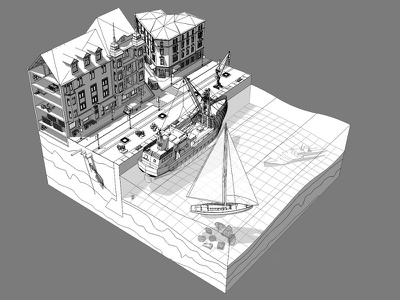 Waterfront illustration wireframe ships greyscale illustration 3d water waterfront