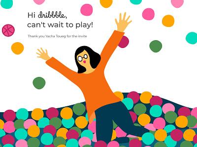 Hello Dribble! hello dribbble affinity designer vector design illustration jumping ball pen ball pit first shot