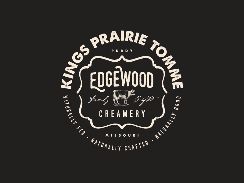 Edgewood Family Crafted Roundel Label Concept tomme prairie label cow logo agrarian agriculture missouri milk dairy cheese creamery