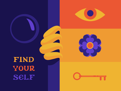 Find Your Self inspired self care adventure discovery colorful vector isolation throwback vintage ethereal illustration adobe illustrator key door floral eyes