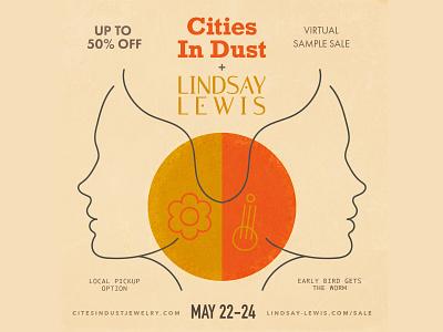 Lindsay Lewis + Cities In Dust Jewelry Sample Sale Promo jewelry illustrator fashion women design branding vector typography adobe illustrator illustration
