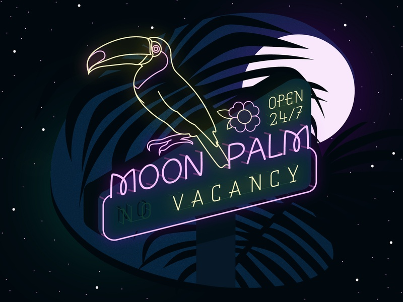 Moon Palm Hotel roadtrip palm tree vacation bird toucan signages signage neon night moon hotel travel tropical palm illustrator design vector typography adobe illustrator illustration
