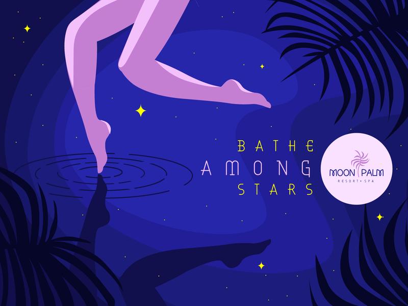 Moon Palm Resort - Bathe Among Stars cosmic tropical palm bathroom relax summer swimming resort hotel travel spa feminism women design branding vector typography adobe illustrator illustration