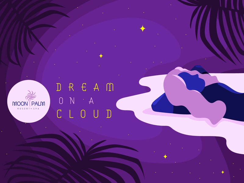 Moon Palm Resort - Dream on a Cloud sleep dreams palm tree cosmicode moon lifestyle brand relax travel tropical spa brand identity women fashion design branding vector typography adobe illustrator illustration