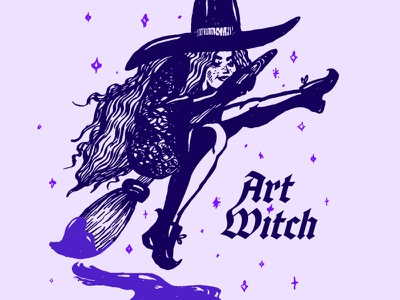 Art Witch purple magic women illustrator typography vector adobe illustrator spooky paint inktober art halloween witch illustration weeklywarmup
