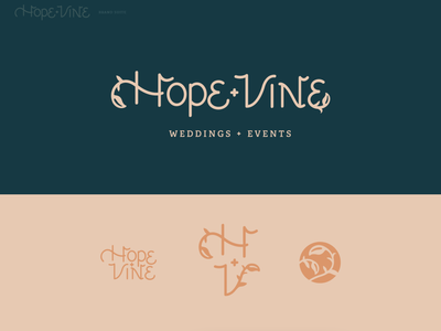 Hope + Vine Weddings and Events vine custom type custom typeface lettering art lettering logo custom lettering custom customtype weddings event planner events wedding brand identity illustrator branding design vector typography adobe illustrator illustration