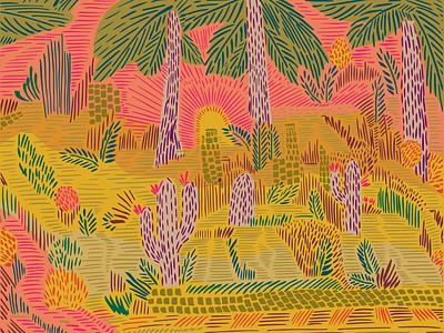 Cactus City - 24x18 Matte Print papercut flowers desert line palmtree palms happy poster print illustrator adobe illustrator bright colors cactus nature illustration