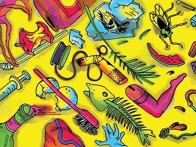 TRASH cigarette neon illustration photoshop mixed media garbage trash editorial