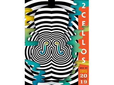 2 Cellos | Fiserv Forum typography poster art adobe illustrator poster design instrument cello illustration poster