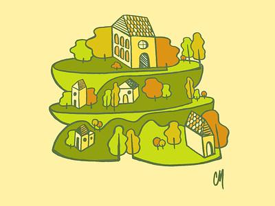 Little Boxes | Illustration editorial design editorial illustration illustrator green autumn fall house landscape trees adobe illustrator illustration