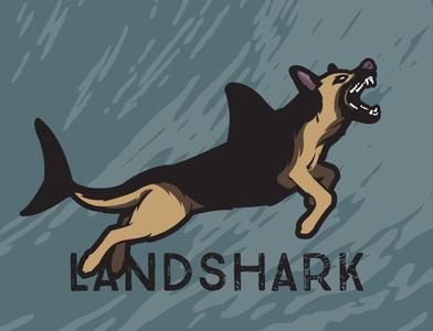 landshark illustrator vector illustration design teeth water ocean animal wolf canine police dog german shepherd dog shark