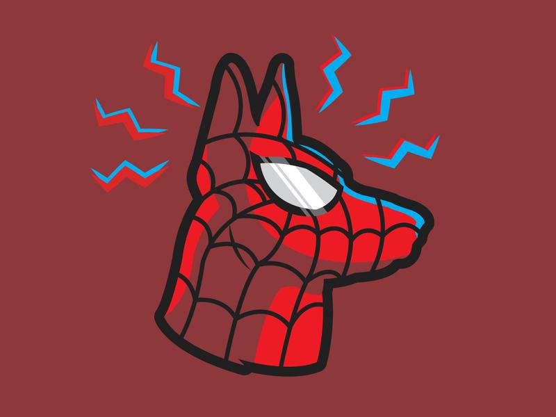 Spiderdog sense superhero intothespiderverse marvel spidey spiderman german shepherd dog vector