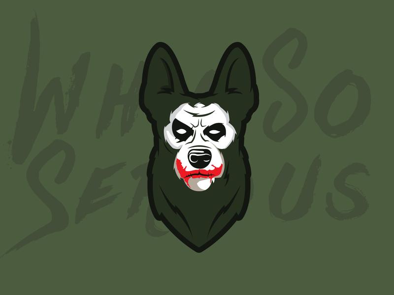 Joker Dog painting germanshepherd whysoserious dog dc batman darkknight joker