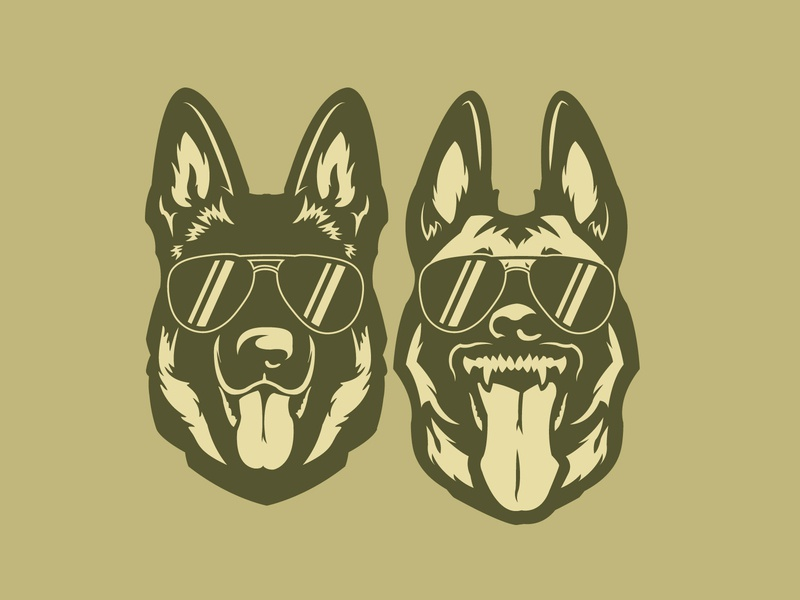 Good Cop Bad Cop wolf teeth glasses design logo vector animal police dogs dog belgian malinois german shepherd