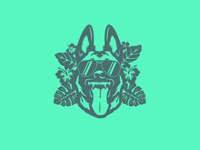 Belgian Malinois Hawaiian style illustration design illustrator vector german shepherd leaf flower animal wolf belgian malinois dog tropical