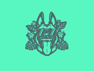 Belgian Malinois Hawaiian style illustration design illustrator vector german shepherd leaf flower animal wolf belgian malinois dog tropical