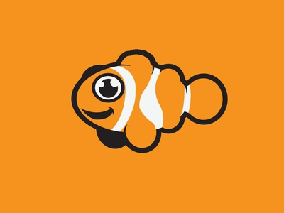 Clown Fish animal logo illustrator flat vector illustration design cute fish clownfish