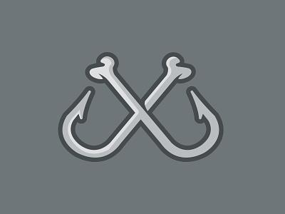 hookbones branding design illustration fish pirate fishing hook skeleton bones