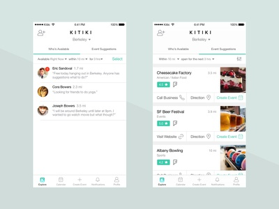 Friends & Events Suggestions social media wireframe uiux tabs suggestions recommendations planning location list ideation friends event