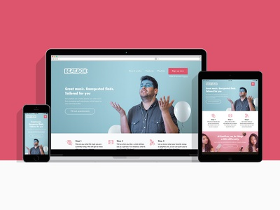 Beat.box Responsive Landing Page web design landing page music app visual design general assembly scheme color typography photography responsive website uiux