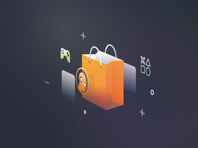 Fulldive VR Market Place Illustration 3d orange vector low poly virtual reality vr graphic design game shopping bag fulldive illustration