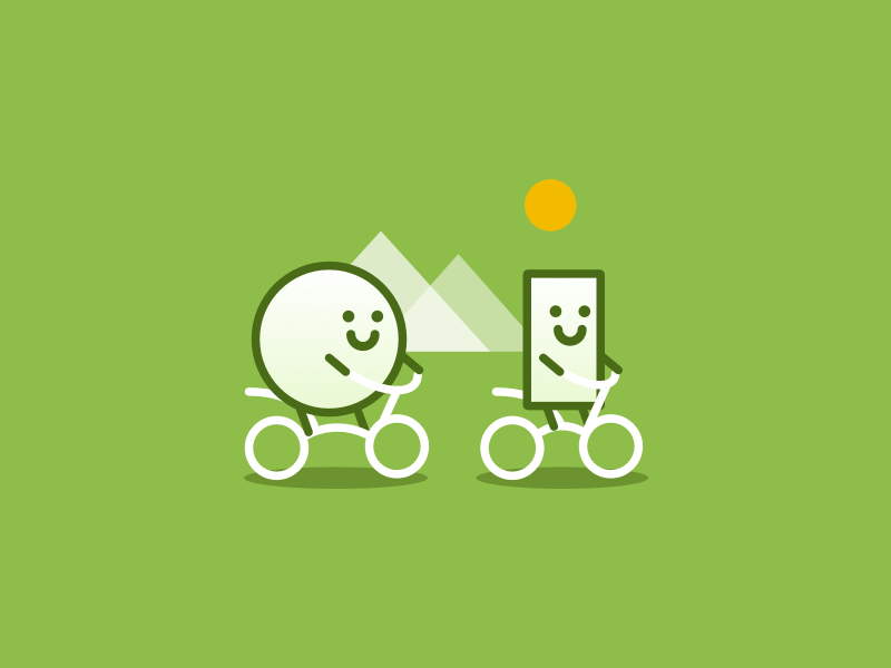 Let's Go Biking social network social media app bicycle biking friends geometry nature outdoor activity icon illustration