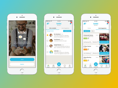 Kitiki — Your Social Assistant messaging social media socialnetworking social assistant get together list view onboarding suggestions calendar planning event apps