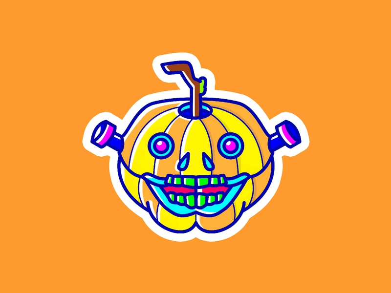Trick or Treat! Mr. Pumpkin intober2018 inktober fall art colorful bright cute scary frankenstein spooky pumpkin illustration sticker halloween