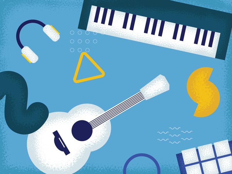 A Musical Gathering illustrator art emotion headphones sound shapes synthesizer keyboard guitar music texture design illustration