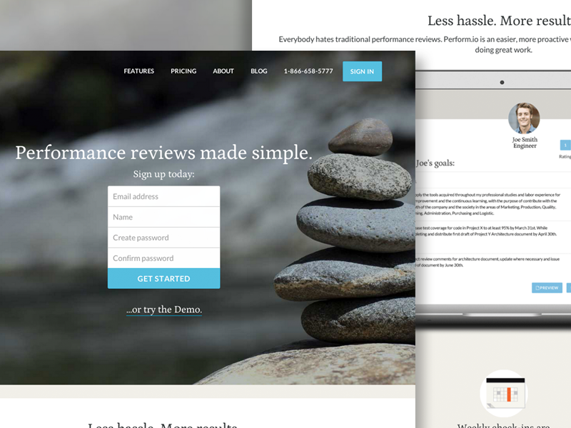 perform.io saas product petrona lato googlefonts side project bootstrap3 marketing responsive