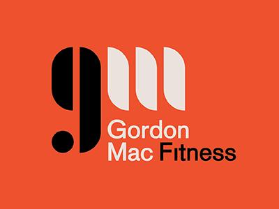 Gordon Mac Fitness Logo trainer fitness monogram modern orange black typography type logo