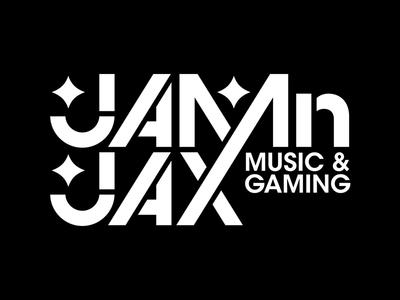 Jamnjax Logo typography type white black modern logo gaming music