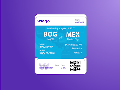 DailyUI Day 24: Boarding Pass cards ui dailyui