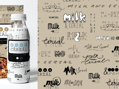 Milk and Cereal packaging milk cereal type design