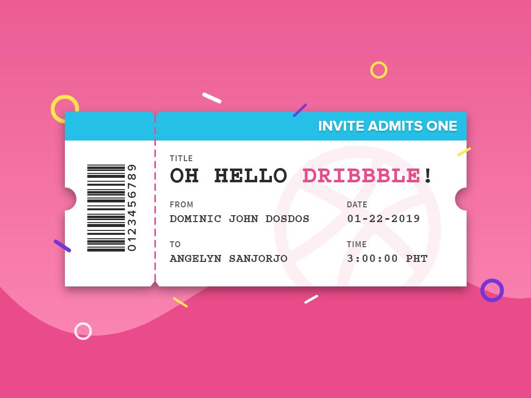 Oh Hello Dribbble! angelyn sanjorjo design vector flat invite ticket debut shot debut ux  ui illustration