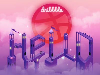 Hello, Dribbble! 2.5d monument valley thanks invite introduction hi design first hello invites hello dribbble first shot