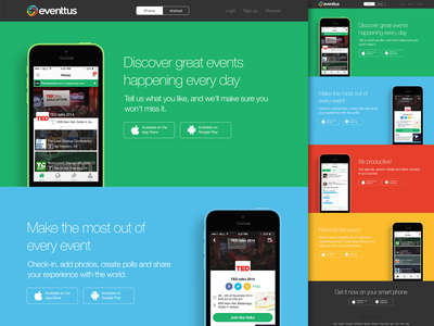 eventtus app download page app flat ui 2x responsive bootstrap website minimal colourful animation iphone 2014