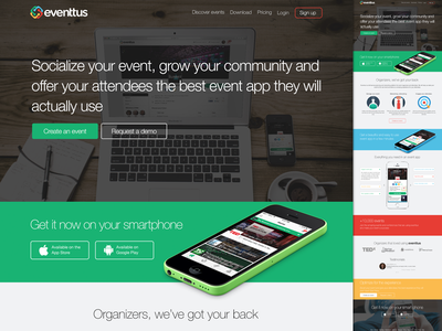 eventtus new landing page ui 2x flat responsive app bootstrap minimal website colourful animation iphone 2014