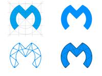 Letter M + social media mark